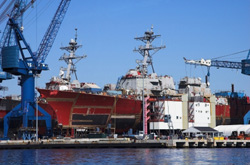 Naval ship under construction at Bath Iron Works, Bath, ME