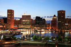 Baltimore's Inner Harbor was a major industrial port from the 1700s. Redeveloped in the 1970s, the Inner Harbor is now one of Maryland's major tourist destinations.