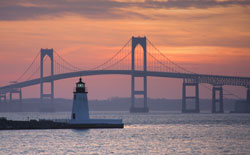 Goat Island Lighthouse & Newport Bridge