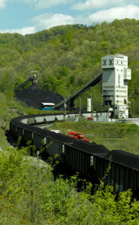 Train being loaded with coal from an underground mine in West Virginia