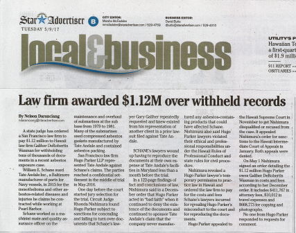 Honolulu Star Advertiser Reports On Galiher Law Firm Win
